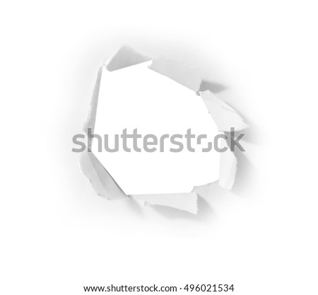 hole paper isolated on white background with clipping path.