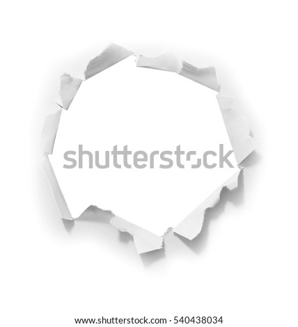 hole paper on white background.