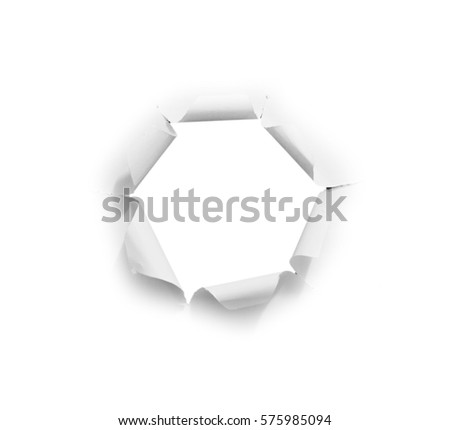 hole paper on white background with clipping path.