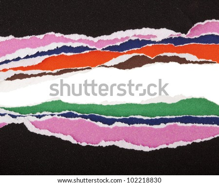 Hole Ripped in Colorful Papers , background for text - stock photo