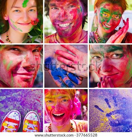 Holi collage. People celebrate festival Holi - stock photo