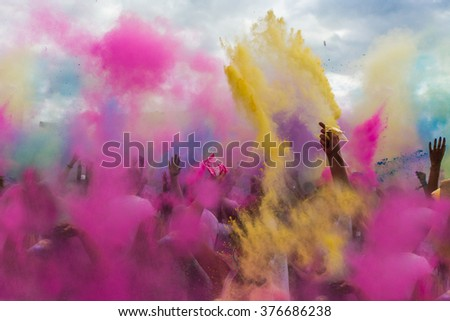 Holi festival color explosion  - stock photo