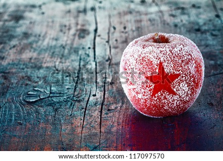 Holiday Apple with Frosted Star - stock photo