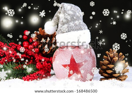 Holiday apple with frosted star in snow on black background - stock photo