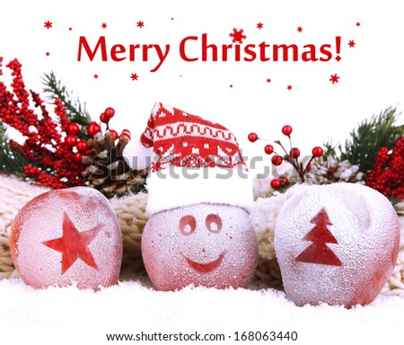 Holiday apples with frosted drawings in snow close up - stock photo