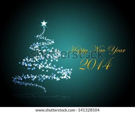 Holiday background for New Year 2014 with a christmas tree  - stock photo