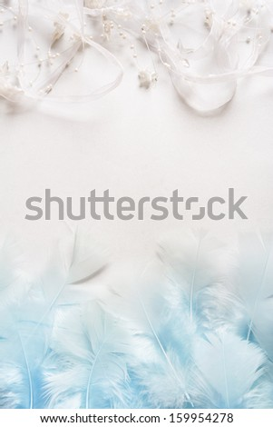 Holiday background from feathers and silver stars with copy space - stock photo