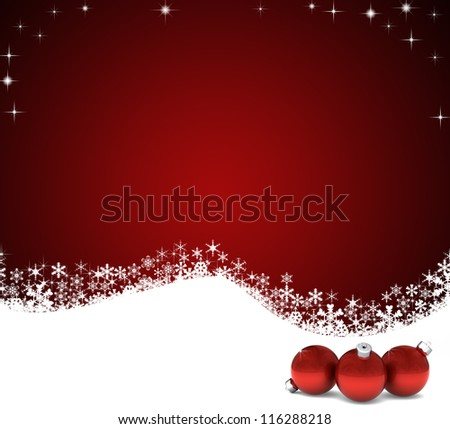 Holiday background perfect for Christmas with red and white and red ornaments - stock photo