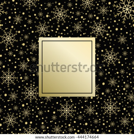 Holiday background, snowflake pattern, Christmas Decoration, winter background with snowflakes. Gold pattern. - stock photo