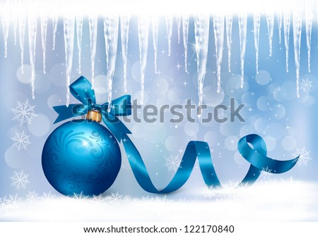 Holiday background with blue gift bow with gift ball. Raster version of vector. - stock photo