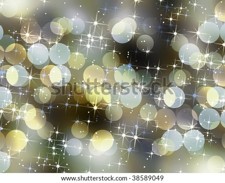 Holiday background with blurred lights and stars