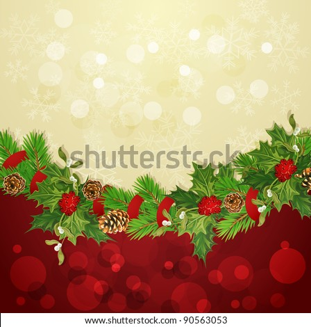 holiday background with Christmas garland, hally and balls (JPEG version) - stock photo
