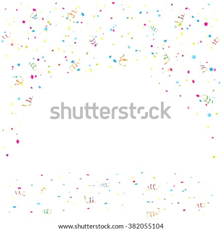 Holiday background with colorful confetti and tinsel, illustration.