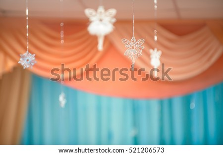 Holiday background with fairies and snowflake