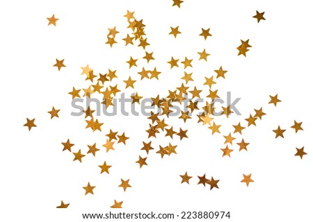 Holiday background with little golden stars isolated on white - stock photo