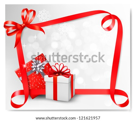 Holiday background with red gift bow with gift boxes. Raster version of vector