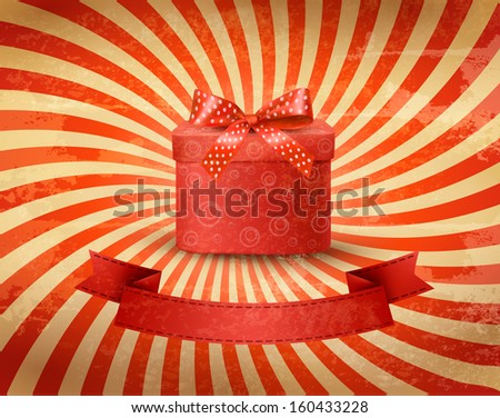 Holiday background with red gift ribbon with gift box. Raster version of vector