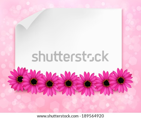 Holiday background with sheet of paper and flowers. Raster version. - stock photo