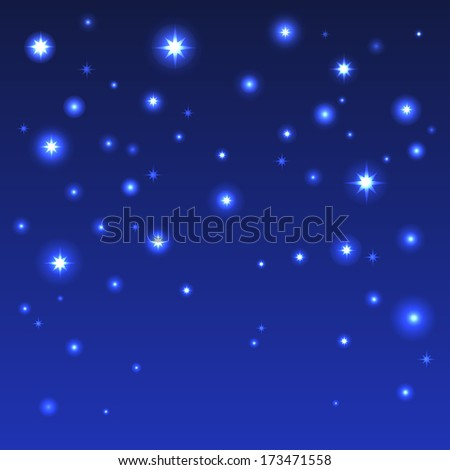Holiday background with shiny stars in the dark blue sky - raster version - stock photo