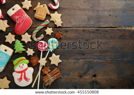 holiday background with sweet cookies, food top view