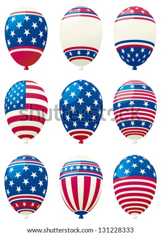 Holiday balloons. Set of holiday balloons color like american flag