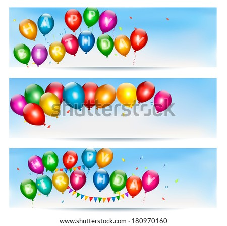 Holiday banners with colorful balloons.  - stock photo