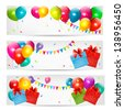 Holiday banners with colorful balloons and gift box, raster version. - stock photo