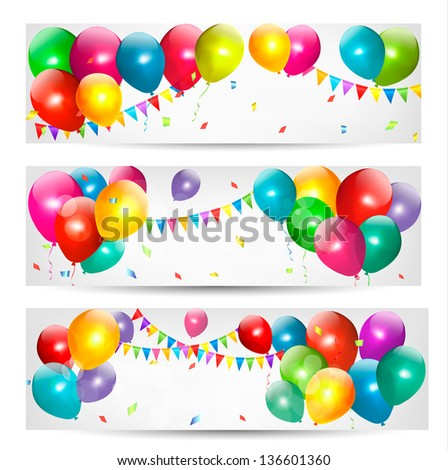 Holiday banners with colorful balloons. Raster version. - stock photo