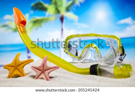 Holiday beach background - stock photo
