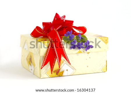 Holiday box with the tape and the blue flowers - stock photo