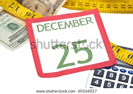 Holiday Budget is Tight Concept with Christmas Calendar Page, Money, Calculator and Measuring Tape. - stock photo