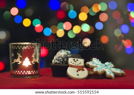 Holiday Candle Decoration On Christmas Bokeh Blur Background