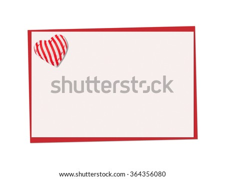 Holiday card. St. Valentines day. Confess his love,  declaration of love, Invitation, decorated striped fabric heart. Isolated on the white. - stock photo