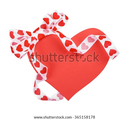 Holiday card. St. Valentines day. Confess his love,  declaration of love, Invitation, decorated bow. Isolated on the white. - stock photo