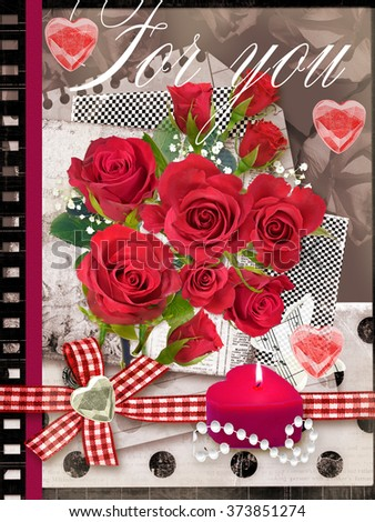 Holiday card with bouquet of beautiful roses on a old paper background. Can be used as valentine card, invitation card for wedding, birthday and other holiday events, banners, wraps, scrap-booking.