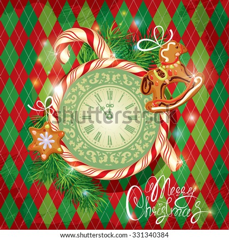 Holiday Card with watch, candy, xmas gingerbread and fir tree branches on checked background. Hand written calligraphic text Merry Christmas.  Raster version - stock photo