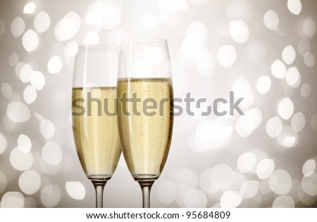 holiday champagne - stock photo