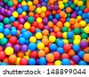 holiday, children's party, a games room, a box filled with small colored balls - stock photo