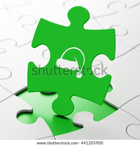 Holiday concept: Christmas Hat on Green puzzle pieces background, 3D rendering - stock photo