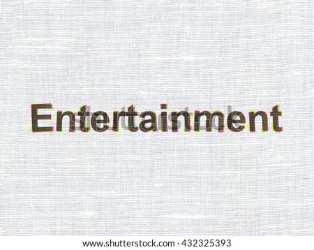 Holiday concept: CMYK Entertainment on linen fabric texture background