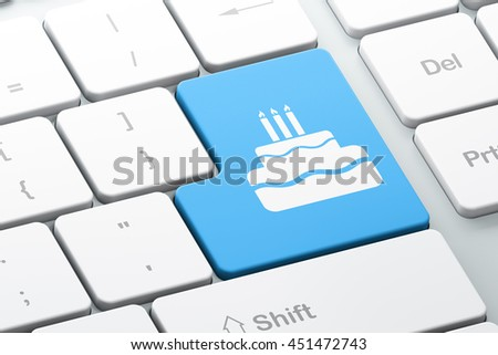 Holiday concept: Enter button with Cake on computer keyboard background, 3D rendering