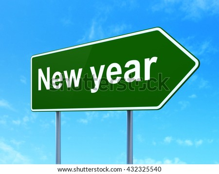 Holiday concept: New Year on green road highway sign, clear blue sky background, 3D rendering - stock photo