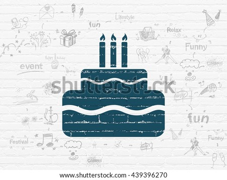 Holiday concept: Painted blue Cake icon on White Brick wall background with Scheme Of Hand Drawn Holiday Icons - stock photo