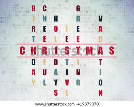 Holiday concept: Painted red word Christmas in solving Crossword Puzzle on Digital Data Paper background - stock photo