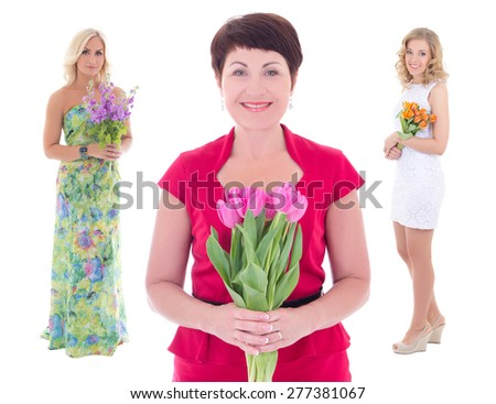 holiday concept - three women with flowers in hands isolated on white background