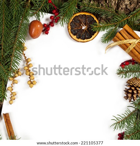 Holiday Decorations. Christmas background. Christmas seasonal border on paper. Selective focus.