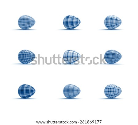holiday easter eggs set on white background in tartan style