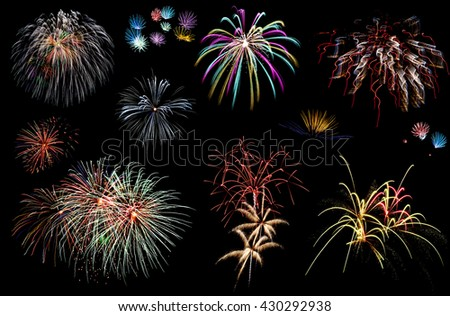 Holiday fireworks of various colors over night sky - stock photo