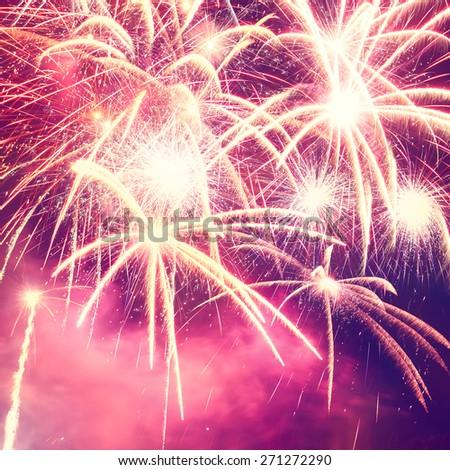holiday fireworks photo on night sky background - stock photo