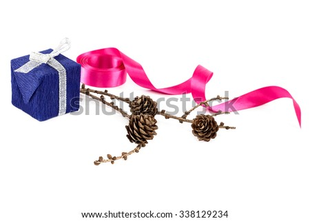 Holiday gift, pink ribbon and a branch of pine tree with cones isolated on white background. - stock photo